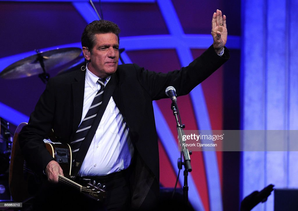 Musician <a gi-track='captionPersonalityLinkClicked' href=/galleries/search?phrase=Glenn+Frey&family=editorial&specificpeople=223995 ng-click='$event.stopPropagation()'>Glenn Frey</a> of The Eagles performs onstage during the 16th Annual Race to Erase MS event themed 'Rock To Erase MS' co-chaired by Nancy Davis and Tommy Hilfiger at the Hyatt Regency Century Plaza on May 8, 2009 in Century City, California.