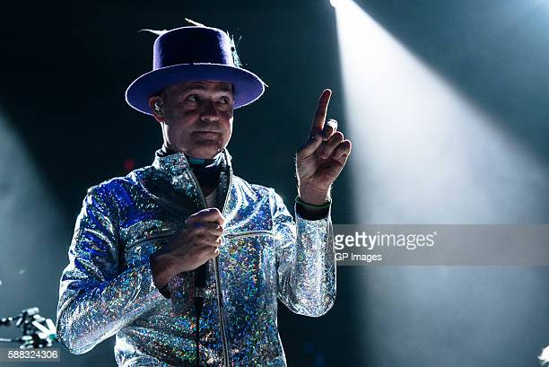 Musician Gordon Downie of The Tragically Hip performs on stage during 'Man Machine Poem' tour at the Air Canada Center on August 10 2016 in Toronto...
