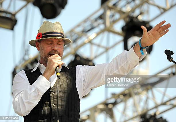 Musician Gordon Downie performs during Day 3 of the Coachella Valley Music Arts Festival 2011 held at the Empire Polo Club on April 17 2011 in Indio...