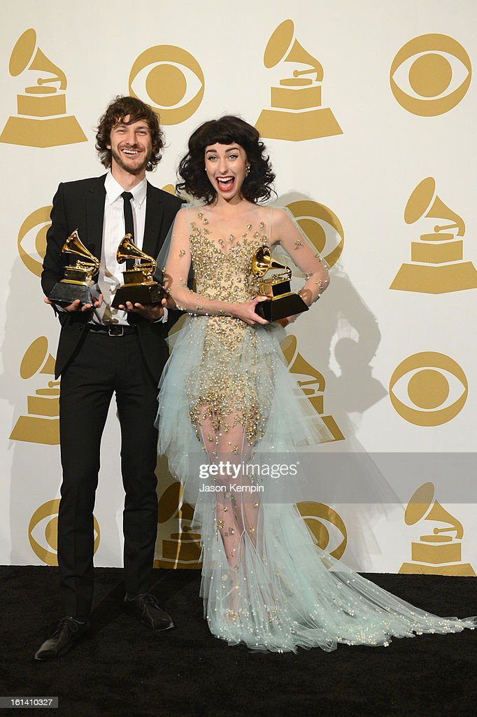 Musician <a gi-track='captionPersonalityLinkClicked' href=/galleries/search?phrase=Gotye&family=editorial&specificpeople=4056440 ng-click='$event.stopPropagation()'>Gotye</a> and singer Kimbra pose in the press room during the 55th Annual GRAMMY Awards at STAPLES Center on February 10, 2013 in Los Angeles, California.