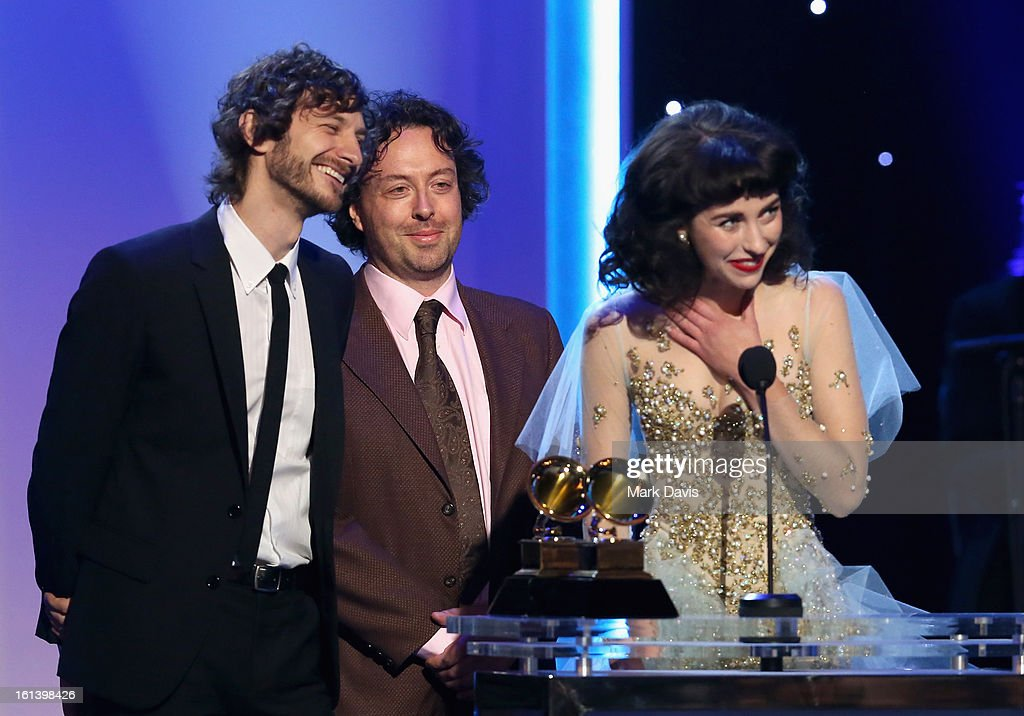 Musician <a gi-track='captionPersonalityLinkClicked' href=/galleries/search?phrase=Gotye&family=editorial&specificpeople=4056440 ng-click='$event.stopPropagation()'>Gotye</a>, producer François Tétaz and singer Kimbra and singer Kimbra onstage during the 55th Annual GRAMMY Awards Pre-Telecast at Nokia Theatre L.A. Live on February 10, 2013 in Los Angeles, California.