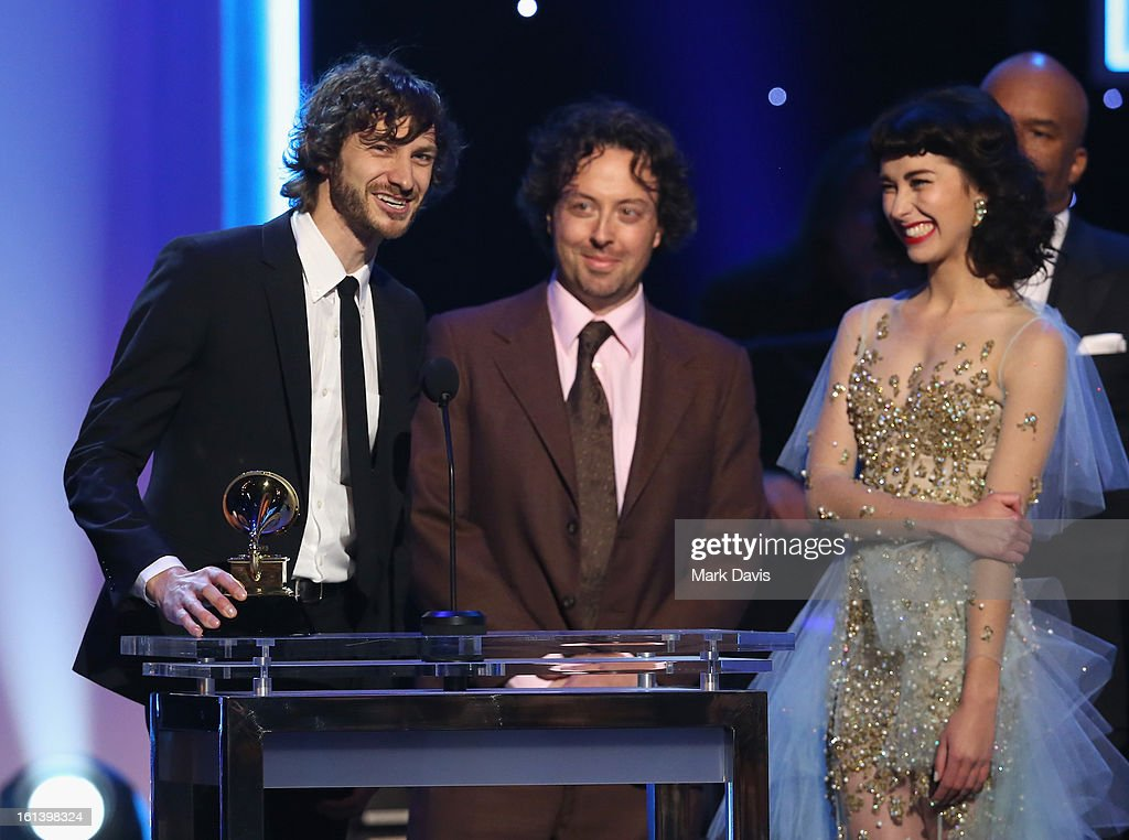 Musician <a gi-track='captionPersonalityLinkClicked' href=/galleries/search?phrase=Gotye&family=editorial&specificpeople=4056440 ng-click='$event.stopPropagation()'>Gotye</a>, producer François Tétaz and singer Kimbra onstage during the 55th Annual GRAMMY Awards Pre-Telecast at Nokia Theatre L.A. Live on February 10, 2013 in Los Angeles, California.