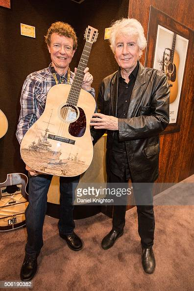 Musician Graham Nash and CF Martin Co chairman/CEO Chris Martin introduce the Martin LEHMSD 100th Anniversary dreadnought guitar at the CF Martin Co...