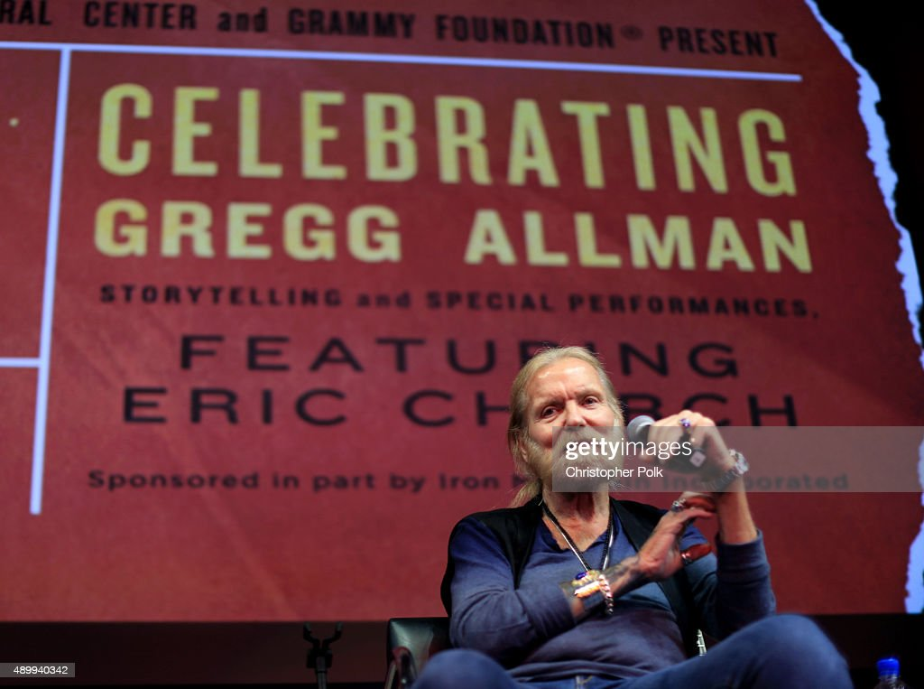 Musician Gregg Allman speaks onstage during a Q & A at 'Celebrating Gregg Allman: Storytelling And Special Performances, Featuring Eric Church' presented by Skirball Cultural Center and the GRAMMY Foundation? in celebration of the exhibition Bill Graham and the Rock & Roll Revolution and presented as part of the GRAMMY Foundation's Living Histories program at Skirball Cultural Center supported in part by Iron Mountain on September 24, 2015 in Los Angeles, California.
