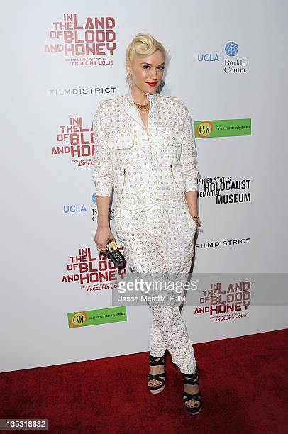 Musician Gwen Stefani arrives at the premiere of FilmDistrict's 'In the Land of Blood and Honey' held at ArcLight Cinemas on December 8 2011 in...