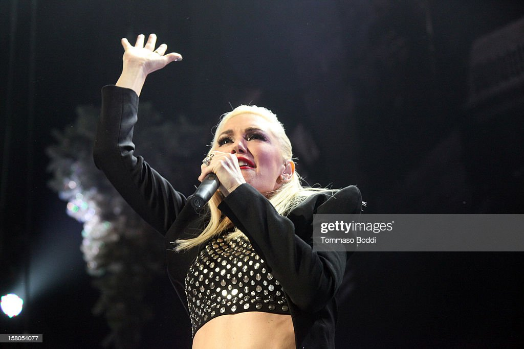 Musician Gwen Stefani of No Doubt performs at the KROQ's Acoustic Christmas held at the Gibson Amphitheatre on December 9, 2012 in Universal City, California.