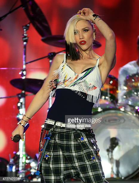 Musician Gwen Stefani of No Doubt performs onstage during Rock in Rio USA at the MGM Resorts Festival Grounds on May 8 2015 in Las Vegas Nevada