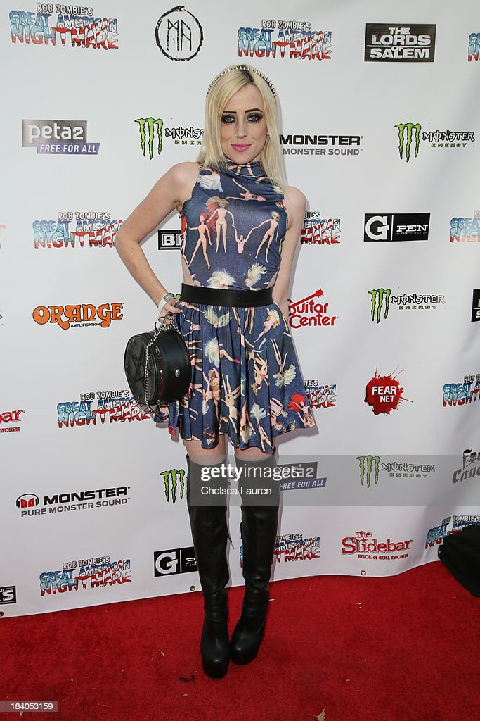 Musician Haley Rose Kopcho attends Rob Zombie's Great American Nightmare VIP opening night party at Pomona FEARplex on October 10, 2013 in Pomona, California.