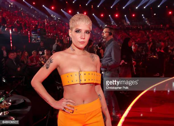 Musician Halsey poses during the 2017 iHeartRadio Music Awards which broadcast live on Turner's TBS TNT and truTV at The Forum on March 5 2017 in...
