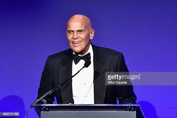 Musician Harry Belafonte speaks onstage at the 2015 amfAR New York Gala at Cipriani Wall Street on February 11 2015 in New York City