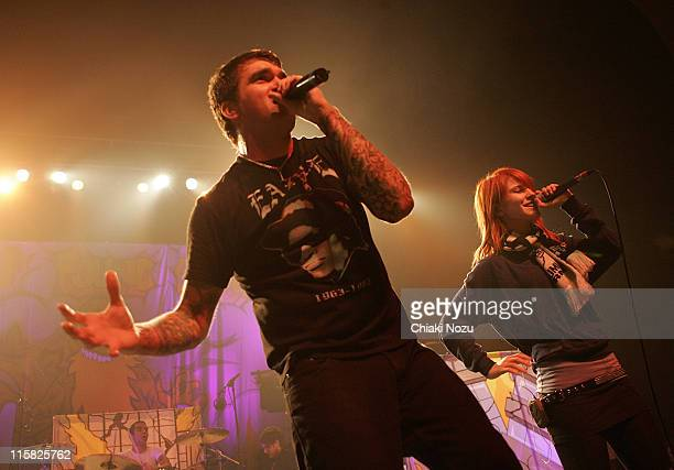 Musician Hayley Williams of Paramore joins Jordan Pundik of support act New Found Glory at Brixton Academy on February 1 2008 in London England