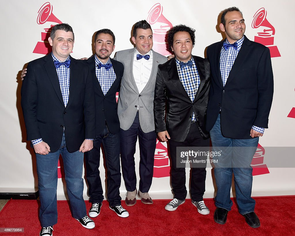 Musician Hector Molina, Edward Ramirez of C4 Trio, singer Rafael 'El Pollo' Brito, Rodner Padilla and Jorge Glem of C4 Trio attend the 2014 Person of the Year honoring Joan Manuel Serrat at the Mandalay Bay Events Center on November 19, 2014 in Las Vegas, Nevada.