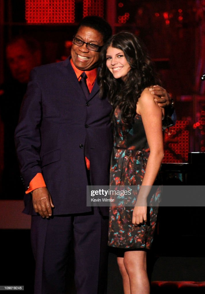 Musician Herbie Hancock and singer Nikki Yanofsky onstage at 2011 MusiCares Person of the Year Tribute to Barbra Streisand at Los Angeles Convention...