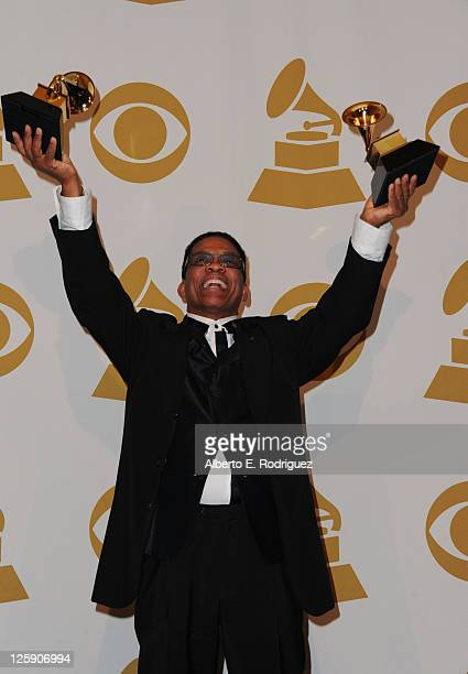 Musician Herbie Hancock poses in the press room at The 53rd Annual GRAMMY Awards held at Staples Center on February 13 2011 in Los Angeles California