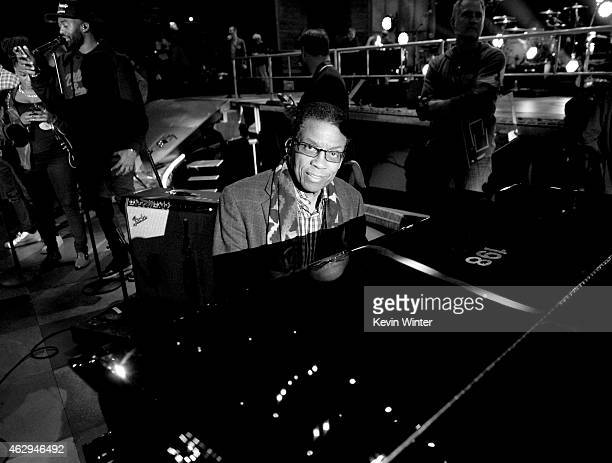 Musician Herbie Hancock rehearses onstage during The 57th Annual GRAMMY Awards at the Staples Center on February 6 2015 in Los Angeles California