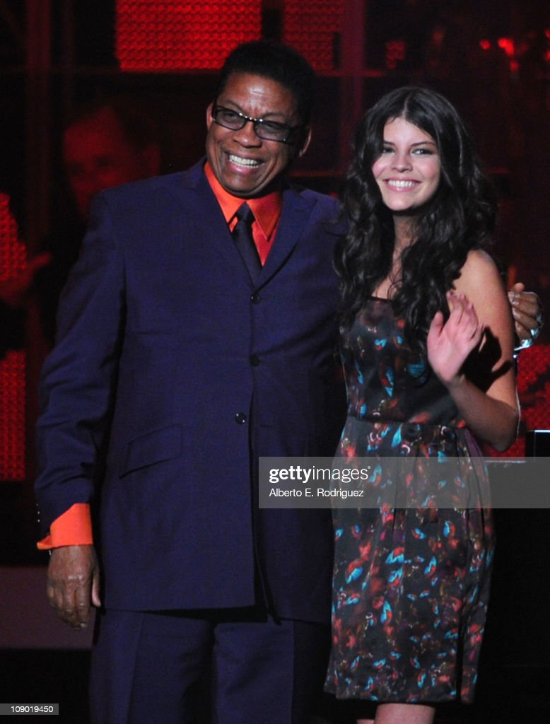 Musician Herbie Hancock Singer Nikki Yanofsky speak onstage at the 2011 MusiCares Person of the Year Tribute to Barbra Streisand held at the Los...
