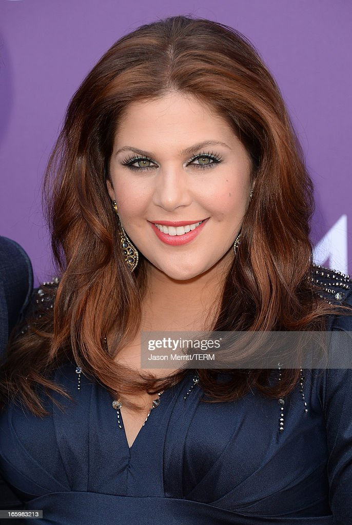 Musician Hillary Scott of music group Lady Antebellum arrives at the 48th Annual Academy of Country Music Awards at the MGM Grand Garden Arena on April 7, 2013 in Las Vegas, Nevada.
