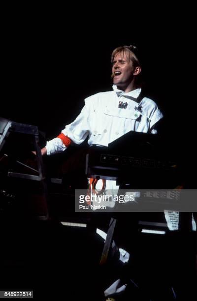 Musician Howard Jones performs at the Poplar Creek Music Theater in Hoffman Estates Illinois August 11 1984