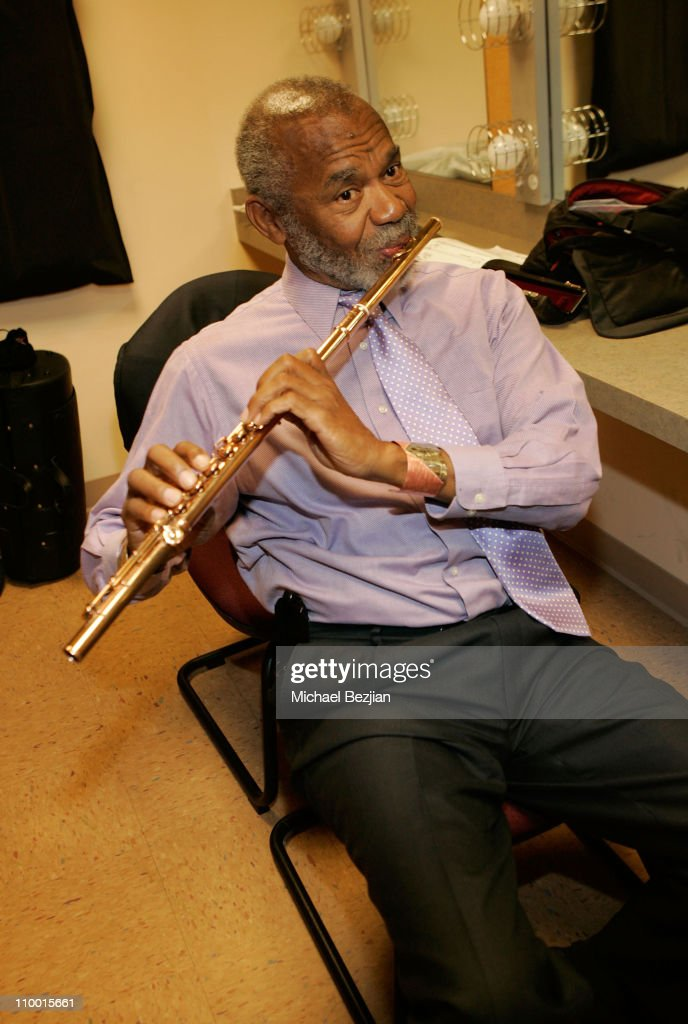 Musician Hubert Laws backstage at The Thelonious Monk Institute of Jazz and The Recording Academy Los Angeles chapter honoring Herbie Hancock all...