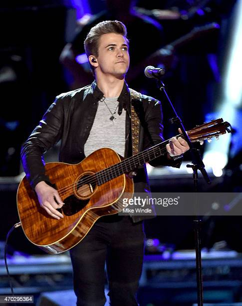 Musician Hunter Hayes performs onstage during ACM Presents Superstar Duets at Globe Life Park in Arlington on April 18 2015 in Arlington Texas