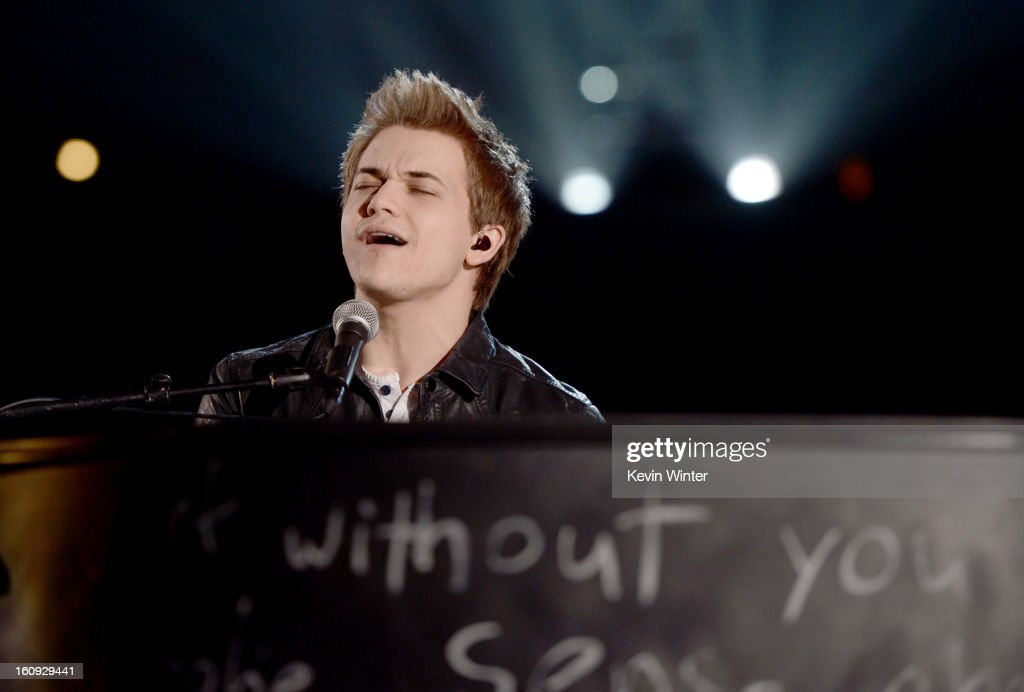 Musician <a gi-track='captionPersonalityLinkClicked' href=/galleries/search?phrase=Hunter+Hayes&family=editorial&specificpeople=3290701 ng-click='$event.stopPropagation()'>Hunter Hayes</a> rehearses onstage during the 55th Annual GRAMMY Awards at the STAPLES Center on February 7, 2013 in Los Angeles, California.