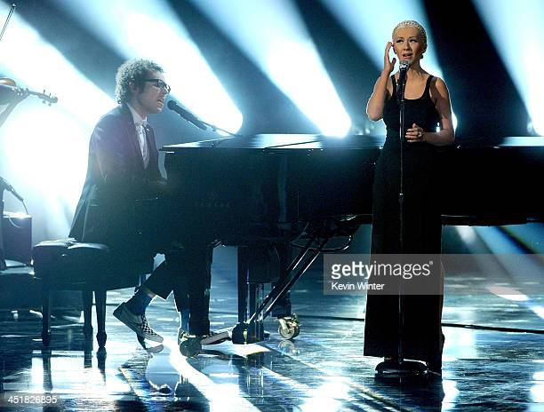 Musician Ian Axel of A Great Big World and singer Christina Aguilera perform onstage during the 2013 American Music Awards at Nokia Theatre LA Live...