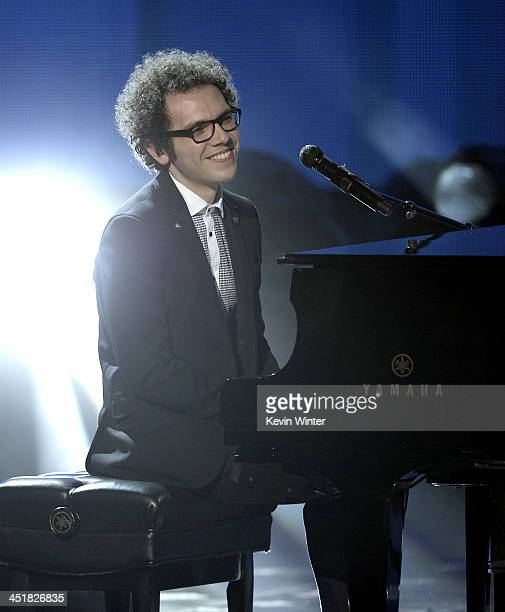 Musician Ian Axel of A Great Big World performs onstage during the 2013 American Music Awards at Nokia Theatre LA Live on November 24 2013 in Los...