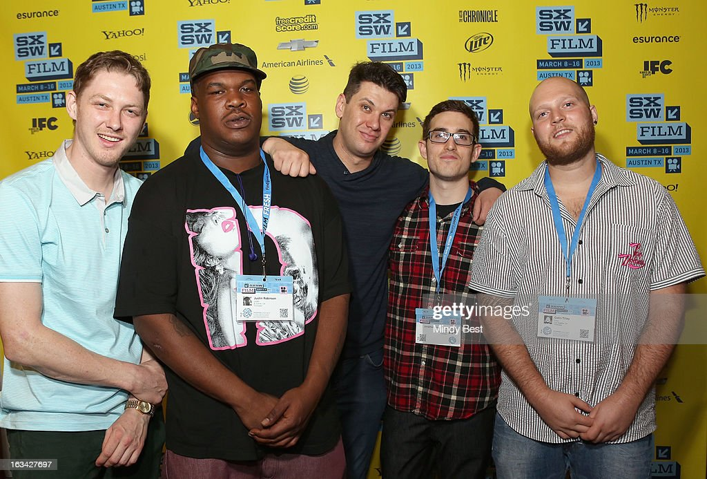 Musician Ian Ericksen, writer Justin Robinson, producer Carlo Fox, writer/director Jonathan Singer-Vine and producer Colin Tilley pose in the greenroom at the screening of 'Licks' during the 2013 SXSW Music, Film + Interactive Festival at Alamo Ritz on March 9, 2013 in Austin, Texas.
