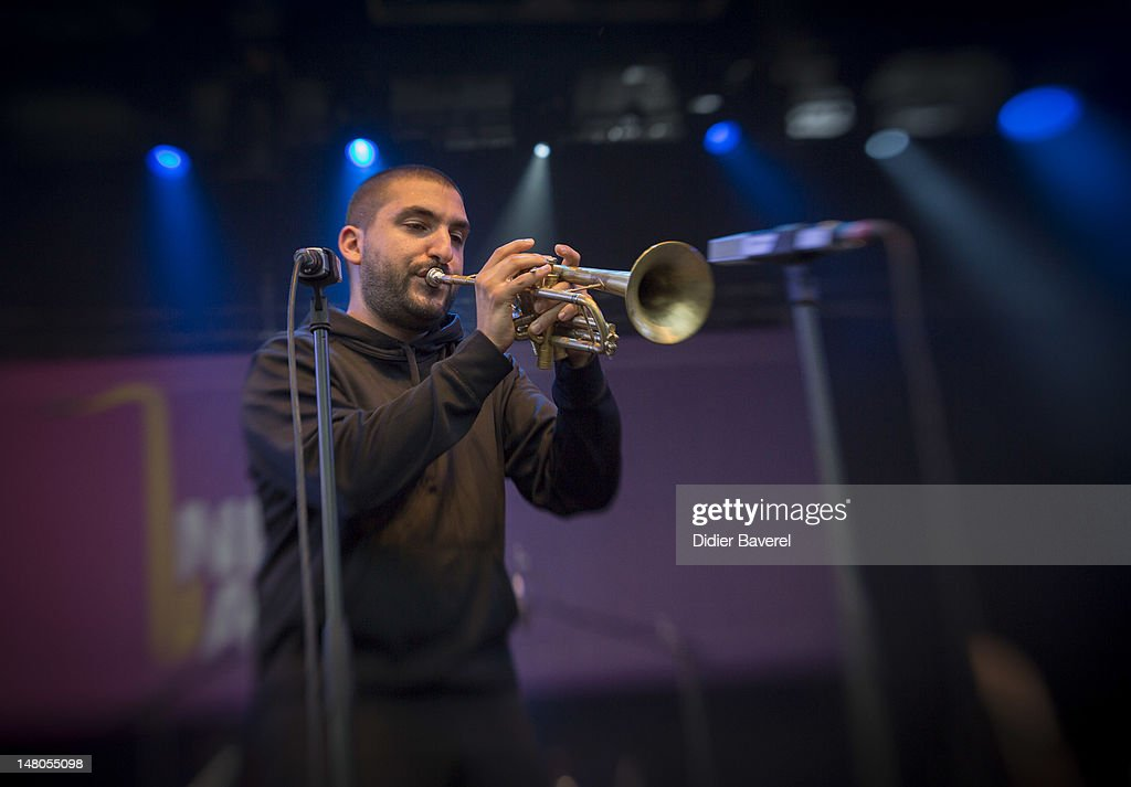 Musician Ibrahim Maalouf performs on stage at Nice Jazz Festival at Jardin Albert 1er on July 8, 2012 in Nice, France.