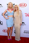 Musician Iggy Azalea and musician Britney Spears attend the 2015 Billboard Music Awards at MGM Grand Garden Arena on May 17 2015 in Las Vegas Nevada