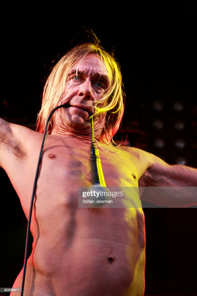 Musician Iggy Pop and The Stooges perform at Get Loaded in the Park at Clapham Common on August 24, 2008 in London, England.