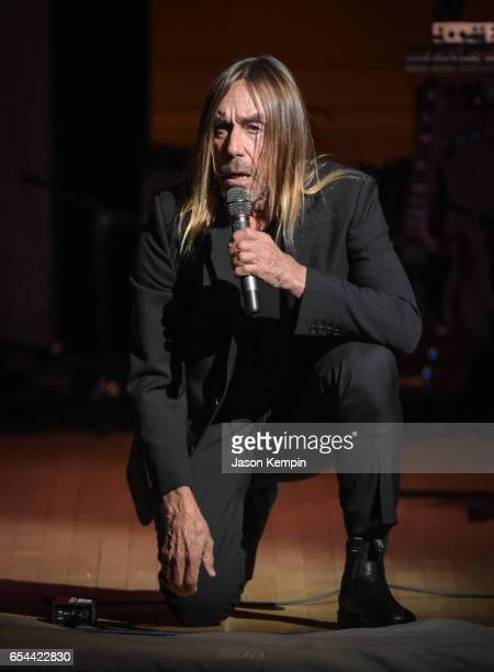 Musician Iggy Pop performs at the Tibet House US 30th Anniversary Benefit Concert Gala Celebrating Philip Glass's 80th Birthday on March 16 2017 in...