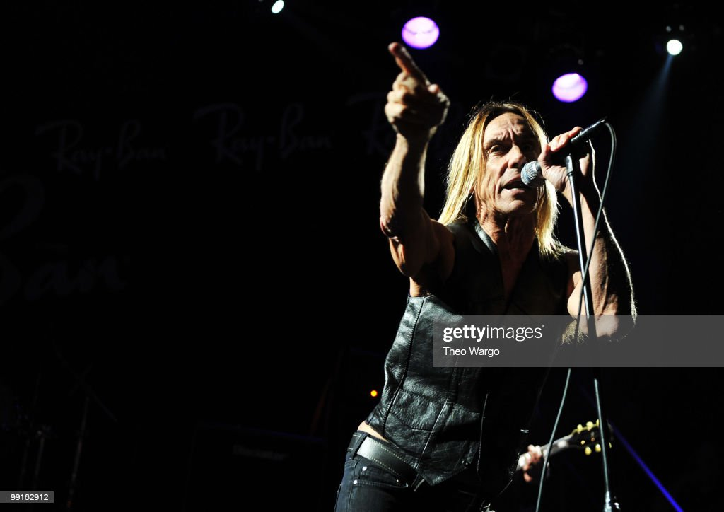 Musician Iggy Pop performs onstage at the Ray-Ban Aviator: The Essentials Event featuring Iggy Pop at Music Hall of Williamsburg on May 12, 2010 in New York City.