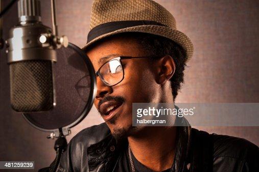 Musician in Recording Studio