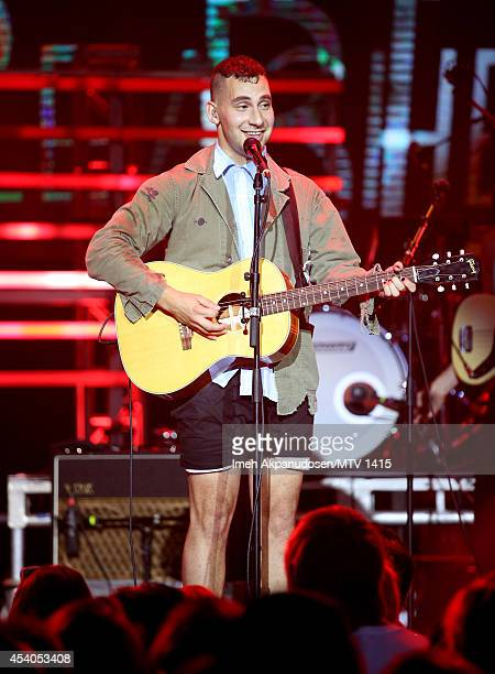 Musician Jack Antonoff of Bleachers performs onstage during a VMA Artist To Watch concert featuring Charli XCX Bleachers And White Arrows presented...