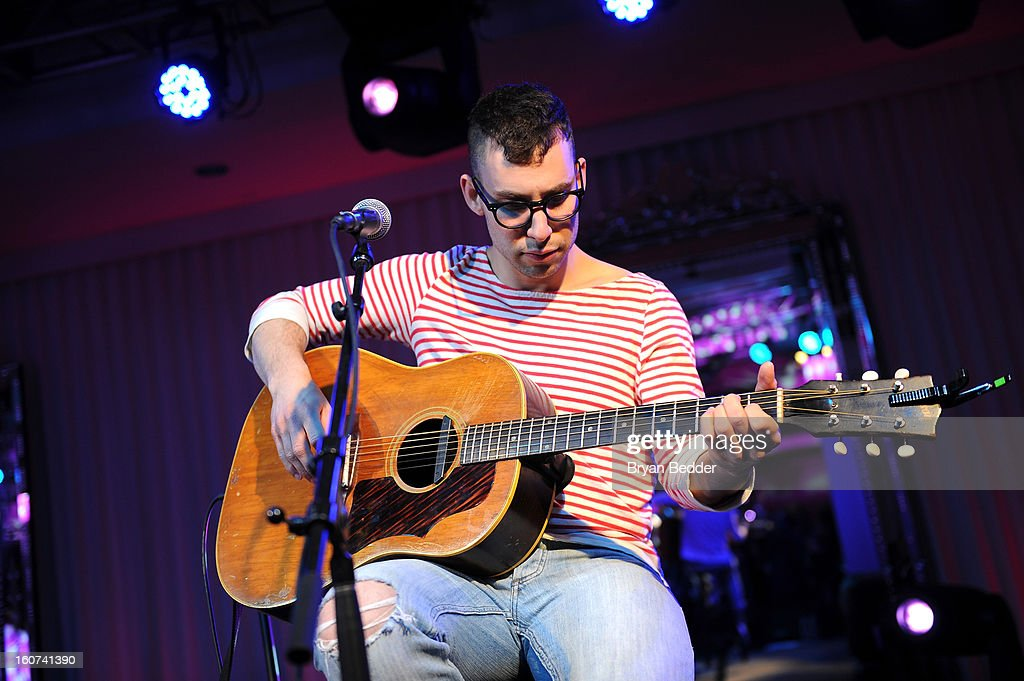 Musician <a gi-track='captionPersonalityLinkClicked' href=/galleries/search?phrase=Jack+Antonoff&family=editorial&specificpeople=2565373 ng-click='$event.stopPropagation()'>Jack Antonoff</a> of the band Fun. performs a private concert to celebrate Delta Air Lines' Nonstop NYC challenge at SLS Hotel on Feb. 4, 2013 in Beverly Hills, California.