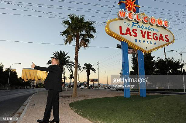 Musician Jack Ingram 'Top New Male Vocalist' poses at the 'Welcome To Fabulous Las Vegas' neon sign on May 16 2008 in Las Vegas Nevada