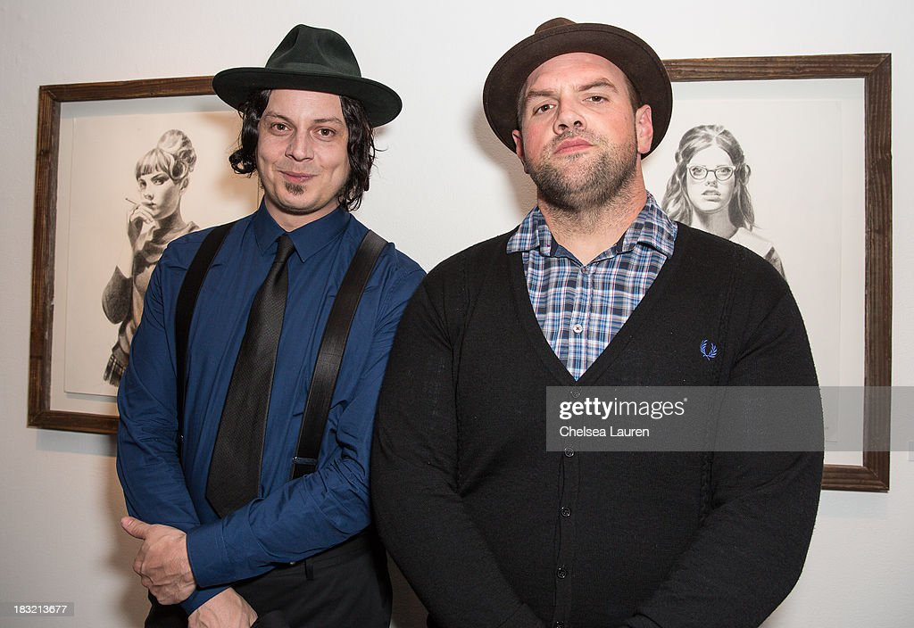 Musician Jack White (L) and actor <a gi-track='captionPersonalityLinkClicked' href=/galleries/search?phrase=Ethan+Suplee&family=editorial&specificpeople=585749 ng-click='$event.stopPropagation()'>Ethan Suplee</a> attend the opening reception for Mercedes Helnwein's exhibit 'The Trouble With Dreams' at Merry Karnowsky Gallery on October 5, 2013 in Los Angeles, California.