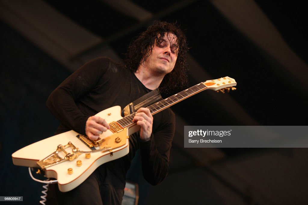 Musician <a gi-track='captionPersonalityLinkClicked' href=/galleries/search?phrase=Jack+White+-+American+Musician+and+Producer&family=editorial&specificpeople=213141 ng-click='$event.stopPropagation()'>Jack White</a> of the Dead Weather performs during day 7 of the 41st annual New Orleans Jazz & Heritage Festival at the Fair Grounds Race Course on May 2, 2010 in New Orleans, Louisiana.