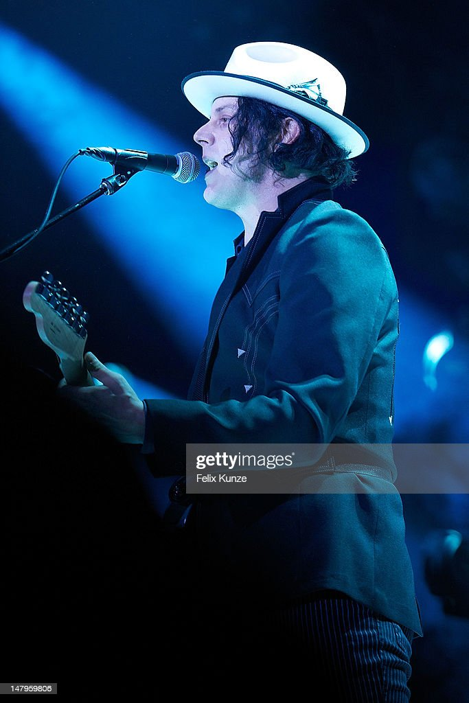 US musician Jack White performs on stage during Roskilde Festival 2012 on July 6, 2012 in Roskilde, Denmark.