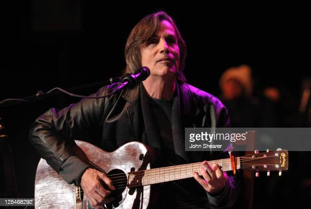 Musician Jackson Browne performs at Neil Young's 24th Annual Bridge School Benefit Concert at Shoreline Amphitheatre on October 23 2010 in Mountain...