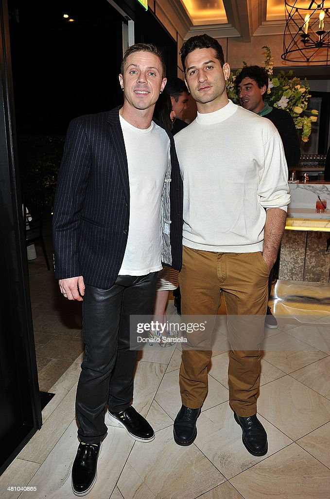 Musician <a gi-track='captionPersonalityLinkClicked' href=/galleries/search?phrase=Jake+Shears&family=editorial&specificpeople=204691 ng-click='$event.stopPropagation()'>Jake Shears</a> and Chris Murkabel attend Nicholas Kirkwood dinner hosted by Emma Roberts and <a gi-track='captionPersonalityLinkClicked' href=/galleries/search?phrase=Jake+Shears&family=editorial&specificpeople=204691 ng-click='$event.stopPropagation()'>Jake Shears</a> at Hotel Bel-Air on March 27, 2014 in Los Angeles, California.