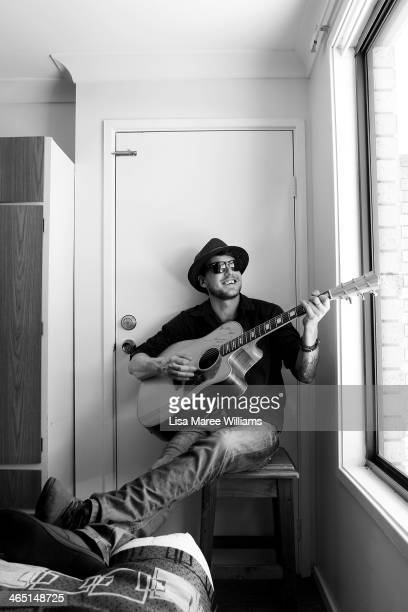 Musician James Avent poses at the Acacia Motel during The Tamworth Country Music Festival on January 26 2014 in Tamworth Australia The festival in...