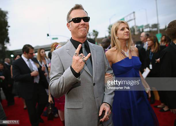 Musician James Hetfield and Francesca Hetfield attend the 56th GRAMMY Awards at Staples Center on January 26 2014 in Los Angeles California