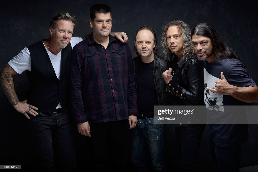 Musician James Hetfield director Nimrod Antal musician Lars Ulrich musician Kirk Hammett and musician Robert Trujillo of 'Metallica Through The...