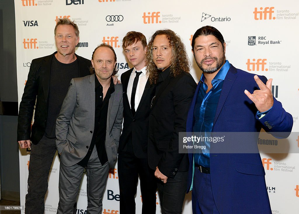 Musician <a gi-track='captionPersonalityLinkClicked' href=/galleries/search?phrase=James+Hetfield&family=editorial&specificpeople=178297 ng-click='$event.stopPropagation()'>James Hetfield</a>, musician <a gi-track='captionPersonalityLinkClicked' href=/galleries/search?phrase=Lars+Ulrich&family=editorial&specificpeople=209281 ng-click='$event.stopPropagation()'>Lars Ulrich</a> actor <a gi-track='captionPersonalityLinkClicked' href=/galleries/search?phrase=Dane+DeHaan&family=editorial&specificpeople=6890481 ng-click='$event.stopPropagation()'>Dane DeHaan</a>, musician <a gi-track='captionPersonalityLinkClicked' href=/galleries/search?phrase=Kirk+Hammett&family=editorial&specificpeople=204665 ng-click='$event.stopPropagation()'>Kirk Hammett</a> and musician <a gi-track='captionPersonalityLinkClicked' href=/galleries/search?phrase=Robert+Trujillo&family=editorial&specificpeople=213071 ng-click='$event.stopPropagation()'>Robert Trujillo</a> arrive at the 'Metallica: Through The Never' Premiere during 2013 Toronto International Film Festival at Scotiabank Theatre on September 9, 2013 in Toronto, Canada.