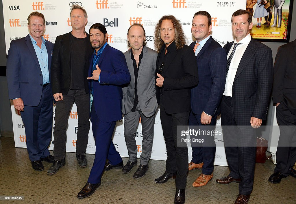 Musician <a gi-track='captionPersonalityLinkClicked' href=/galleries/search?phrase=James+Hetfield&family=editorial&specificpeople=178297 ng-click='$event.stopPropagation()'>James Hetfield</a>, musician <a gi-track='captionPersonalityLinkClicked' href=/galleries/search?phrase=Robert+Trujillo&family=editorial&specificpeople=213071 ng-click='$event.stopPropagation()'>Robert Trujillo</a>, musician <a gi-track='captionPersonalityLinkClicked' href=/galleries/search?phrase=Lars+Ulrich&family=editorial&specificpeople=209281 ng-click='$event.stopPropagation()'>Lars Ulrich</a>, musician <a gi-track='captionPersonalityLinkClicked' href=/galleries/search?phrase=Kirk+Hammett&family=editorial&specificpeople=204665 ng-click='$event.stopPropagation()'>Kirk Hammett</a> and guests arrive at the 'Metallica: Through The Never' Premiere during 2013 Toronto International Film Festival at Scotiabank Theatre on September 9, 2013 in Toronto, Canada.