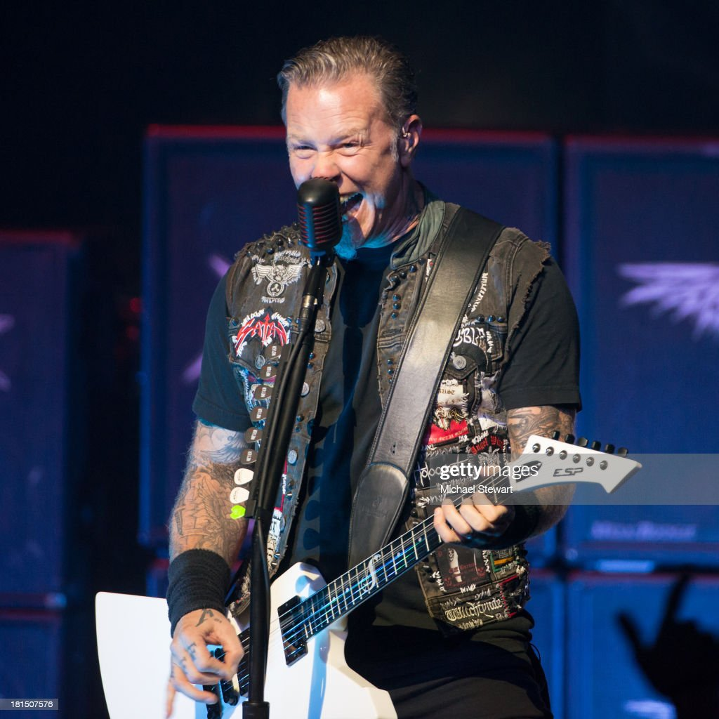Musician <a gi-track='captionPersonalityLinkClicked' href=/galleries/search?phrase=James+Hetfield&family=editorial&specificpeople=178297 ng-click='$event.stopPropagation()'>James Hetfield</a> of Metallica performs at a private exclusive concert for SiriusXM listeners at The Apollo Theater on September 21, 2013 in New York City.