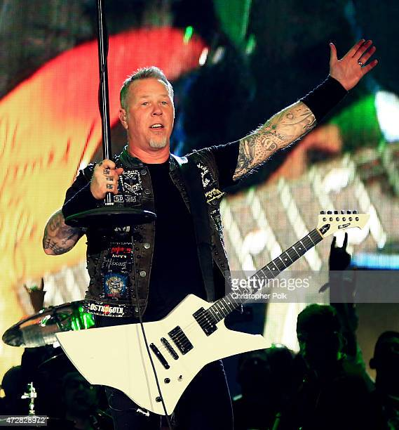 Musician James Hetfield of Metallica performs onstage during Rock in Rio USA at the MGM Resorts Festival Grounds on May 9 2015 in Las Vegas Nevada