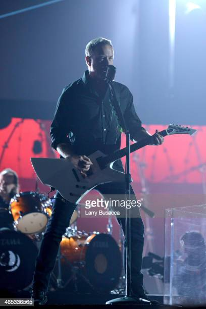 Musician James Hetfield of Metallica performs onstage during the 56th GRAMMY Awards at Staples Center on January 26 2014 in Los Angeles California